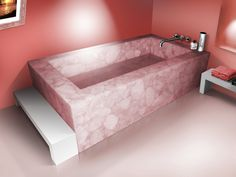 Rose Quartz Bathtub. This Rose Quartz was mined from the Norcross-Madagascar quarry.  http://www.madagascarminerals.com/pd-rose-quartz-bathtub.cfm#