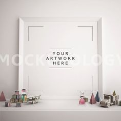 Square White Frame Mockup Poster Mockup Styled by Mockupology