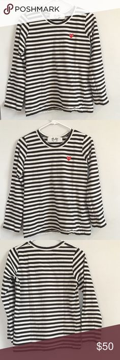 COMME DES GARCONS STRIPED SHIRT COMME DES GARCONS STRIPED SHIRT.  LONG SLEEVE.  COTTON.  BLK AND WHITE.  RED HEART PATCH. Comme des Garcons Tops Tees - Long Sleeve
