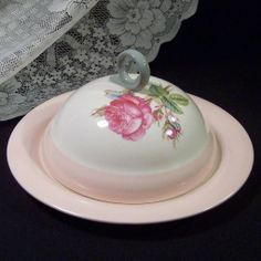 Homer Laughlin Swing Moss Rose Covered Muffin Server  -- Circa 1942