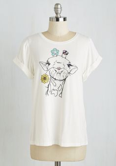 What Happens Necks? Tee. You take one look at this darling giraffe tee and fall head over heels! #white #modcloth