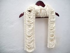 Hand knitting Long Scarf Mulberry Scarf Cream Pompom by nurlu Pompom Scarf, Neck Accessories, Long Scarf, Holiday Fashion, Neck Warmer, Womens Scarves, Bridesmaid Gifts, Hand Knitting