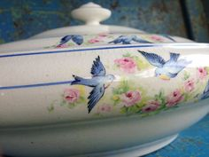 Covered Dish With Bluebirds
