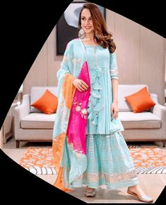Casual Indian Fashion, Indian Fashion Dresses, Punjabi Fashion, Trendy Fashion, Fashion Outfits, Fashion Trends, Stylish Dresses For Girls, Stylish Dress Designs, Stylish Gown