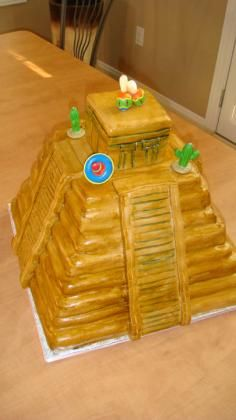 Cake is a replica of the Mayan pyramid- could also be done with rice krispie treats
