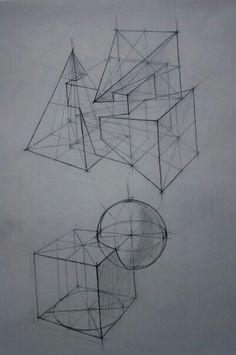 Perspective Drawing Lessons, Perspective Art, Basic Drawing, Technical Drawing, Geometric Drawing, Geometric Shapes, Interior Design Presentation, Object Drawing, Industrial Design Sketch