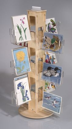 Plywood Counter Spinner with Clear Pockets for selling cards!
