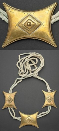 Africa | Tuareg Talisman / amulet ~ Tcherot  | Brass/copper alloy || These talismans are attached to the tagelmoust, a strip of cloth 20 feet long, that protects them from the heat of the desert and the blowing sand. | Late 20th century