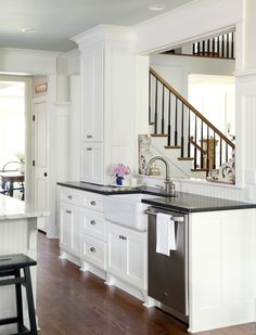 At Home in Arkansas - kitchens - Benjamin Moore - Palladium Blue - farmhouse sink, white cabinets with black countertops, white kitchen cabinets with black countertops, Half Wall Kitchen, Kitchen Pass, Open Kitchen And Living Room, Kitchen Design Open, New Kitchen, Kitchen Ideas, Basement Kitchen, Kitchen Sink, Kitchen Layout