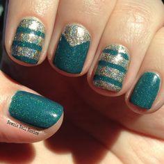 Perfect Pair: Elevation Polish Muztagh Ata and INLP Fame using nail vinyls for the nail art
