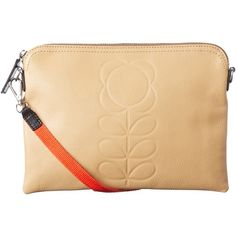 Orla Kiely Embossed Leather Travel Pouch, Sand ($220) ❤ liked on Polyvore featuring bags, travel bag, leather sling bag, leather bags, leather travel pouch and leather pocket pouch