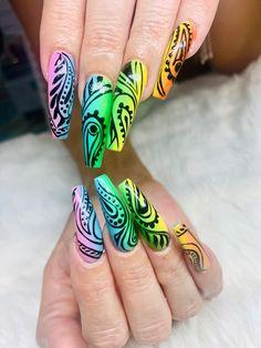 FreeStyle Rainbow Colored Acrylic Nail Designs with Black Painted Nail Designs by Elaine at NAB Nail Bar Las Vegas Book Today Text or call 702-577-1680 8891 W Flamingo Rd Las Vegas NV 89147 www.nabnailbar.com