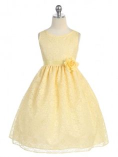 Yellow Lovely Floral Lace Flower Girl Dress (Available in Sizes 2-12 in 13 Colors) AUDREY