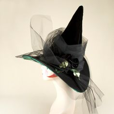 Black Velvet and Tulle Couture Witch Hat with Green by HOHOHATS