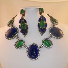 Vintage 1960's KJL Kenneth Jay Lane Blue and Green Cabochon Necklace Earrings