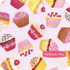 Timeless Treasures Pink Tossed Large Cupcakes Yardage SKU# C9216-PINK