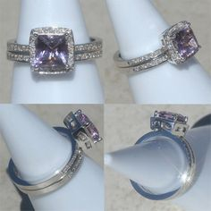 Princess Cut Amethyst Engagement Ring and Wedding Band Set with Diamonds - LS1721. $1,690.50, via Etsy.