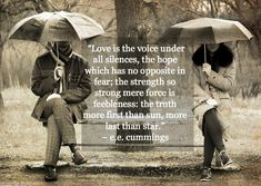 """Love is the voice under all silences, the hope which has no opposite in fear; the strength so strong mere force is feebleness: the truth more first than sun, more last than star."" -e.e. cummings"