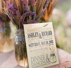 Mason Jar Wheat Wedding Invitation