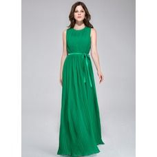 [US$ 116.99] A-Line/Princess Scoop Neck Floor-Length Chiffon Charmeuse Bridesmaid Dress With Ruffle (022028096)