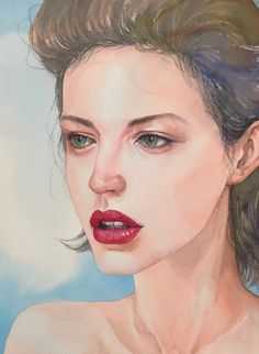 Watercolor Face, Watercolor Portraits, Watercolor Paintings, Natural Makeup For Blondes, Love Art, Faces, Photo And Video, Drawings, Nature