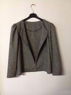 Veste en tweed gris chiné laine et synthétique taille 40. : Manteau, Blouson, veste par l-atelier-de-cissou