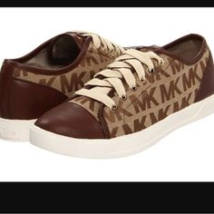 Michael Kors Sneakers NWT authentic tan and brown sneakers with signature logo print. Michael Kors Shoes Sneakers