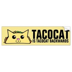 Tacocat Backwards Bumper Sticker - drawing sketch design graphic draw personalize