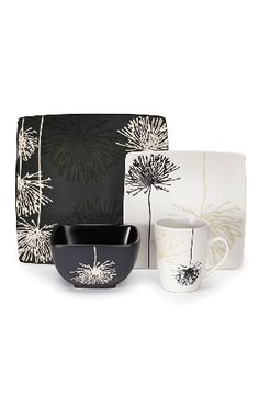 Cuisinart 16 Piece Marianne Dinnerware Set In Black And White