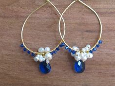 """https://www.cityblis.com/1283/item/13476  Wisdom - $68 by TarajamuDesigns  Wisdom Earrings - Fresh Water Pearls & Sapphire Quartz on a Golden Brass 3"""" Hoop.  Available at wholesale prices when you purchase six (6) or more.  This is the only color that the """"Wisdom Earring"""" is available in at this time.  Contact me for more information."""