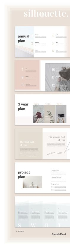 Simple Planning Presentation #template #ppt #portfolio #planning #minimal #annual #silhouette #simple #layout #babypink #planner #chart #graph