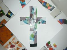 In the process of making a fused glass cross from scrap glass. Came out beautiful.