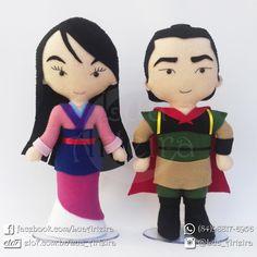 Mulan e Li Shang de feltro 30cm Tags: Mulan, Li, Shang, Disney, Princesas, feltro, decoração, festa, aniversário, lua, arteira, luaarteira.