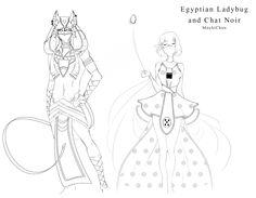 Egyptian Ladybug and Chat Noir