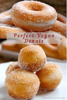 Baked Doughnut Recipes, No Egg Doughnut Recipe, Gluten Free Vegan Donut Recipe, Vegan Treats, Vegan Foods, Vegan Dishes, Vegan Dessert Recipes, Egg Free Desserts, Cooking Recipes