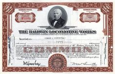 Baldwin Locomotive Works Stock Certificate - Pennsylvania 1950