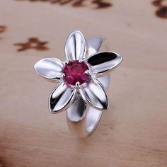 JZR053 Wholesale silver plated ring, Factory price trendy fashion 925 stamped jewelry, Inlaid Rose Ring-Red Stone /arsajiza #Affiliate