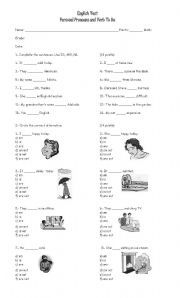 English worksheet: test to  be, personal pronouns