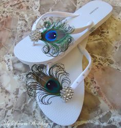 White Peacock Flip flops with Crystals. #Bridesmaid Bridal Party #DIY peacock flipflops