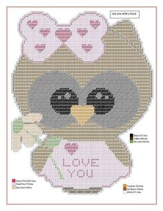 Owl Patterns, Needlepoint Patterns, Beading Patterns, Cross Stitch Patterns, Plastic Canvas Tissue Boxes, Plastic Canvas Crafts, Plastic Canvas Patterns, Valentine Decorations, Valentine Crafts