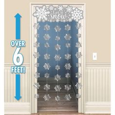 Brrr-ing' the snow inside with a Glitter Snowflake Doorway Curtain! This Glitter Snowflake Doorway Curtain features a banner that says 'Let It Snow' with glittery snowflakes. Winter Wonderland Decorations, Winter Wonderland Theme, Christmas Wonderland, Winter Party Themes, Winter Theme, Snow Theme, Snowflake Cutouts, Snowflakes, Snowflake Centerpieces
