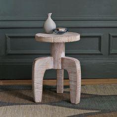 "White Wood Stool Side Table | west elm  $99 Reg $84.99 Sale  12""diam. x 18""h."