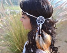 Dreamcatcher Feather Headband Brown Feather by VividBloom on Etsy