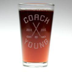 Hockey Coach themed personalized Pint Glass ,hockey gift,home brew gift,homebrew,beer gift,personalized gift, custom home brew glass