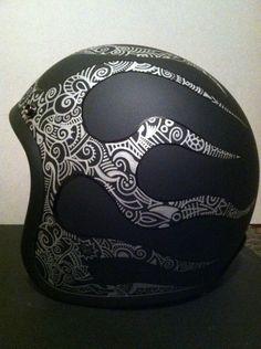 Custom Biltwell 3/4 Hand Pinstriped Flames and custom Sharpie Art graphics
