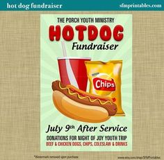 hot dog fundraiser dinner bbq invitation poster spring template church youth group school community goods