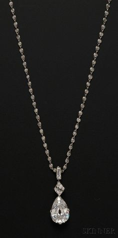 Sold for: $325,000 - Important Art Deco Platinum and Diamond Pendant Necklace, Cartier