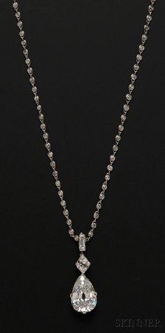 Sold for: $325,000 - Important Art Deco Platinum and Diamond Pendant Necklace, Cartier