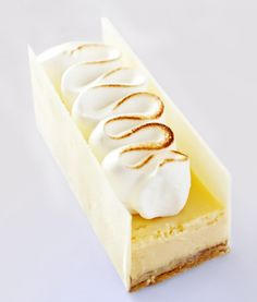 Beautiful plating idea for lemon meringue. St. Honore tip for meringue with just top torched.