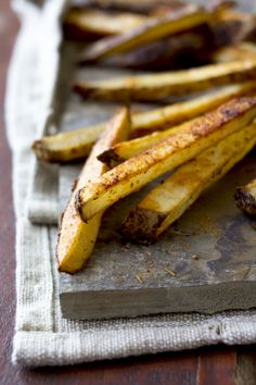 Cajun oven fries. Less than one teaspoon of oil per serving. #cleaneating #fries #spicy